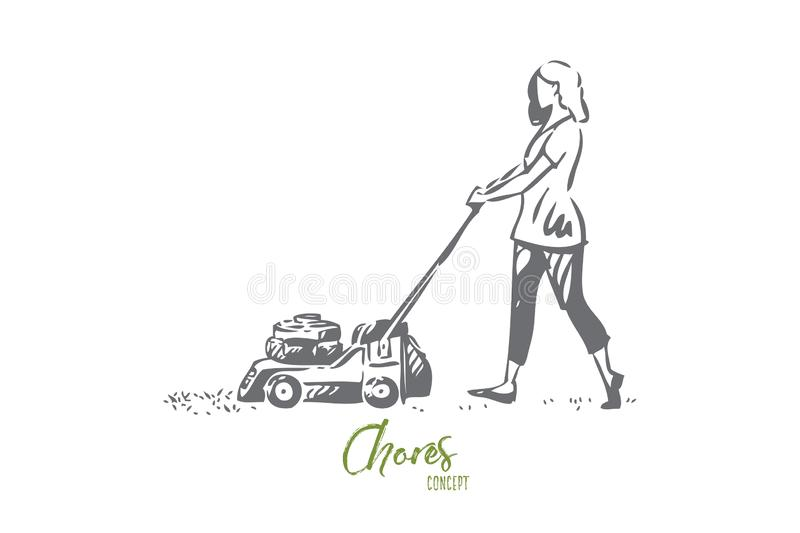 Girl mowing lawn concept sketch. Isolated vector illustration. Girl mowing lawn concept sketch. Cutting down long grass in front and back yard. Woman using lawn royalty free illustration