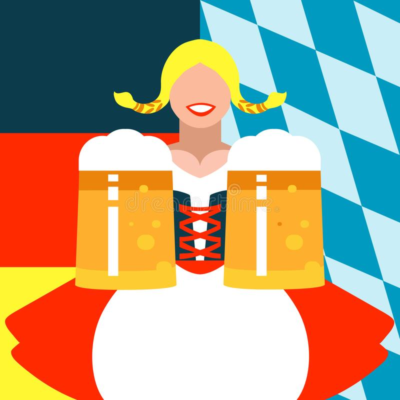 Girl with mugs of beer on the background in German and Bavarian flag colors. Illustration of a girl with mugs of beer on the background in German and Bavarian royalty free illustration