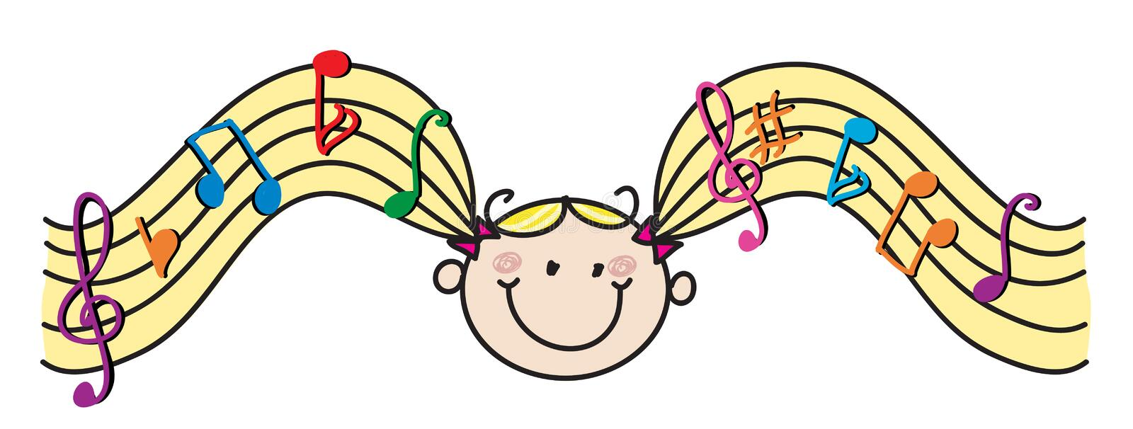 Kid music hair. Girl cartoon character with abstract staves musical hair vector illustration