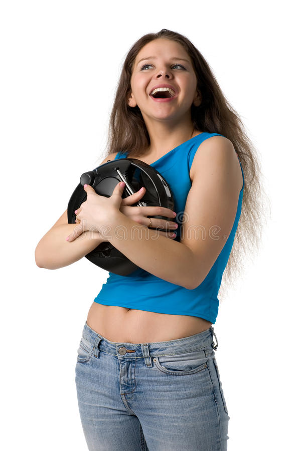 Girl With Music Player Stock Photos