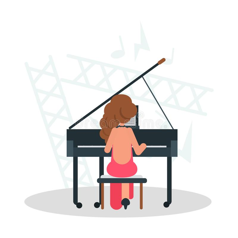 Girl musician playing the piano color flat illustration. For web and mobile royalty free illustration