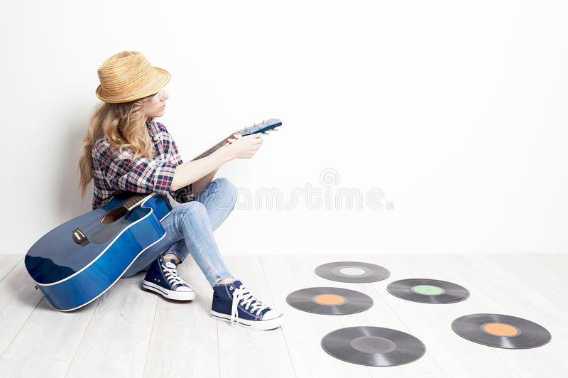 Girl musician royalty free stock photography