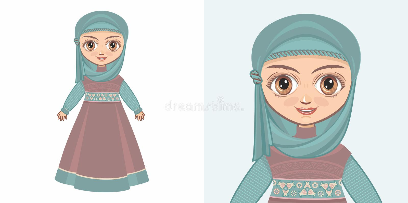 Girl in Muslim clothes. The veil and Abaya. Design royalty free illustration