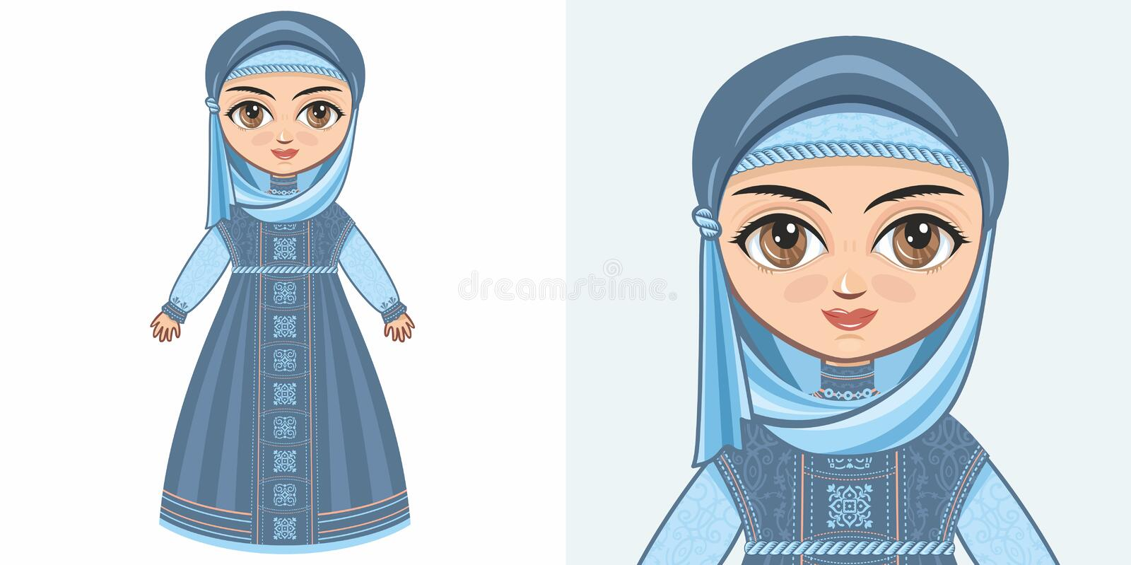 Girl in Muslim clothes. The veil and Abaya. Design stock illustration
