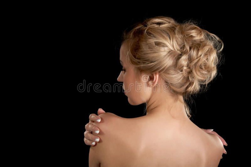Download The Girl With The Naked Shoulders On A Black Stock Photo - Image of adult, people: 24407624