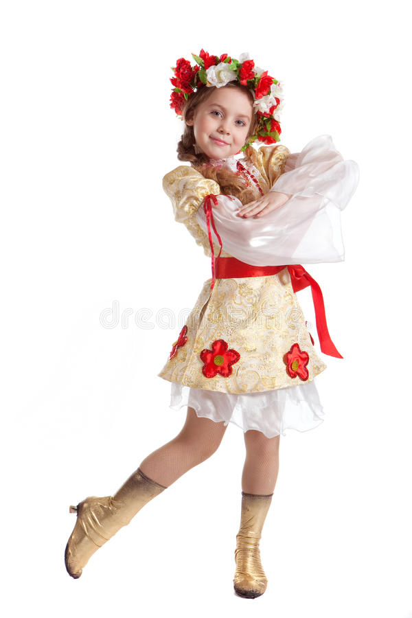 Girl in national costume. Sweet girl in Ukrainian national costume royalty free stock photo