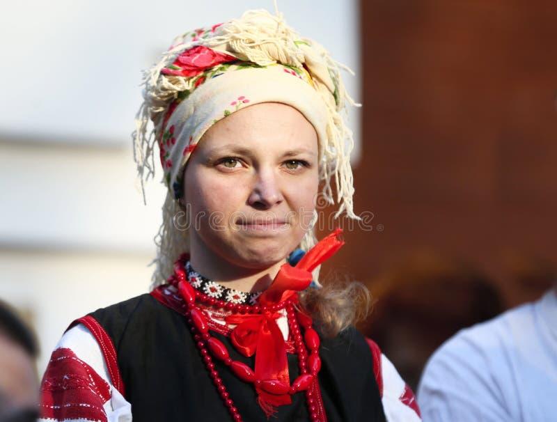 Girl in national headdress stock photo