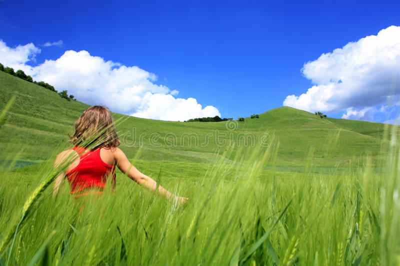 Download Girl in nature stock photo. Image of plant, free, meadow - 18406726
