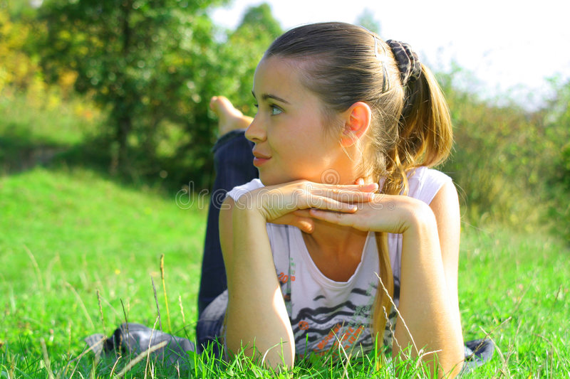 Girl on a nature stock photo