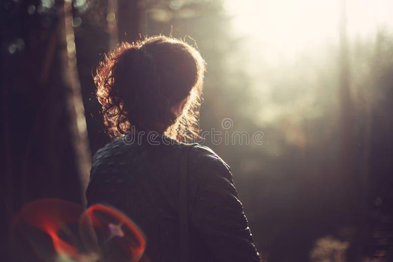 Girl In Nature Outdoors Autumn Lens Flare Sun Rays stock photos
