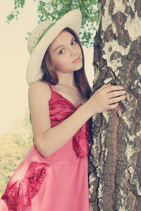 Download A girl near birch stock photo. Image of caucasian, cute - 25225724
