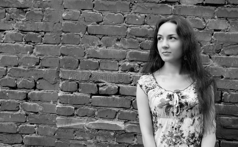 Download Girl near the brick wall stock photo. Image of cute, hair - 10497984