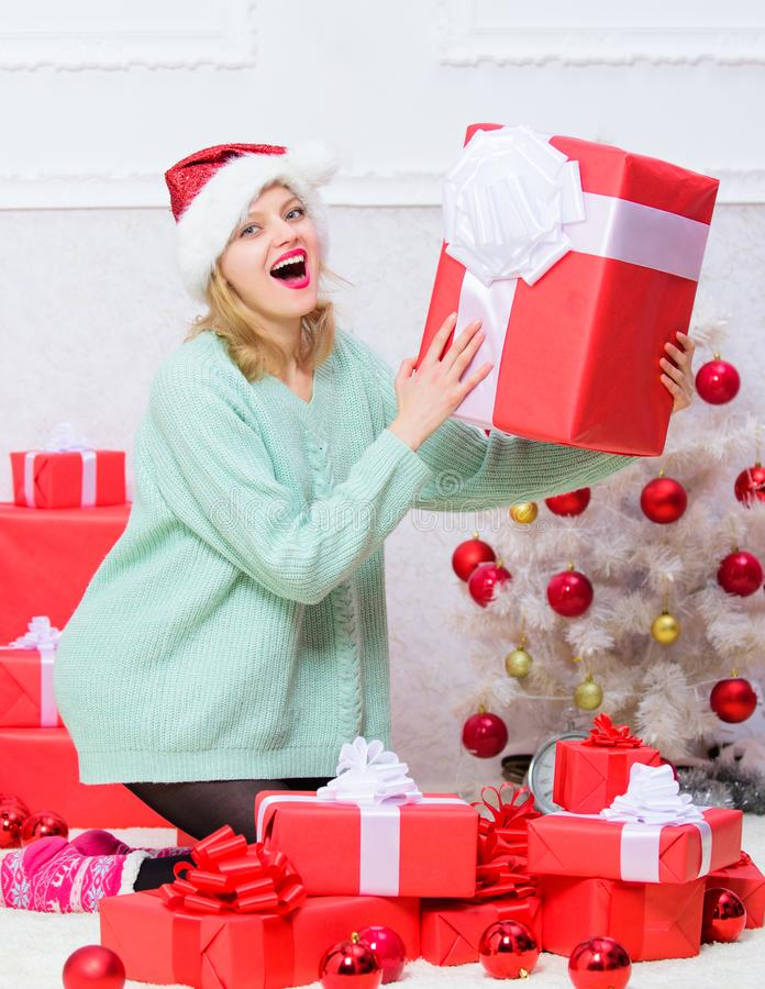 Girl near christmas tree happy celebrate holiday. Perfect gift for girlfriend or wife. Give her gift that she always stock image