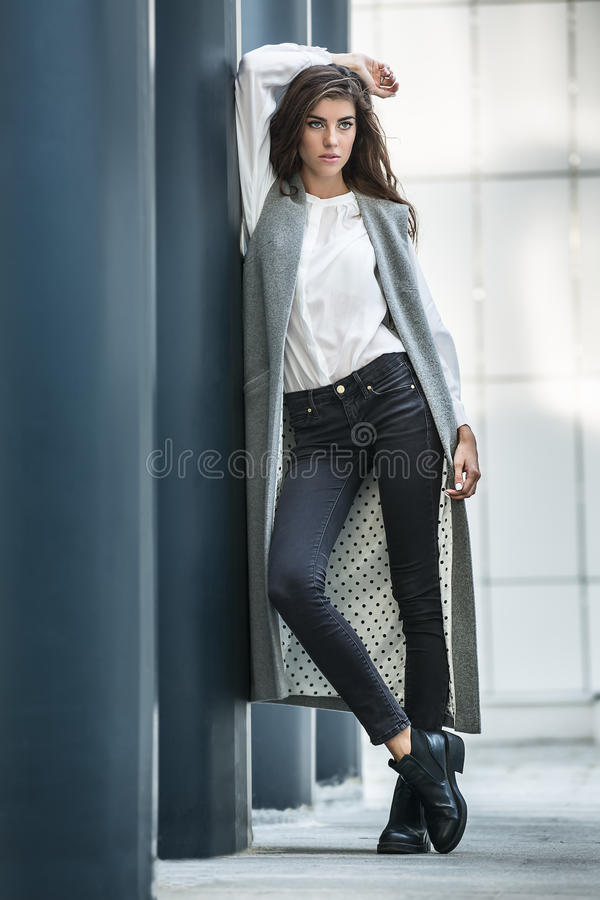 Free Girl Near Column Royalty Free Stock Image - 73637446