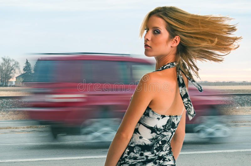 Download Girl Near The Highway stock image. Image of firm, beautiful - 22821941