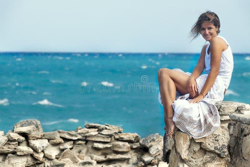 Girl Near Ocean Royalty Free Stock Photo
