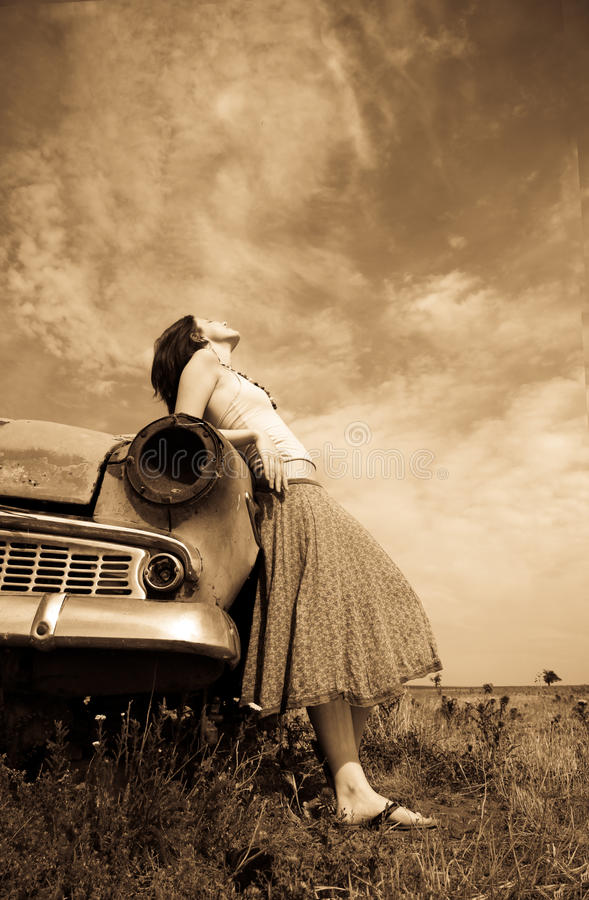 Download Girl Near Old Car, Photo In Yellow Vintage Style Stock Photo - Image: 11655736