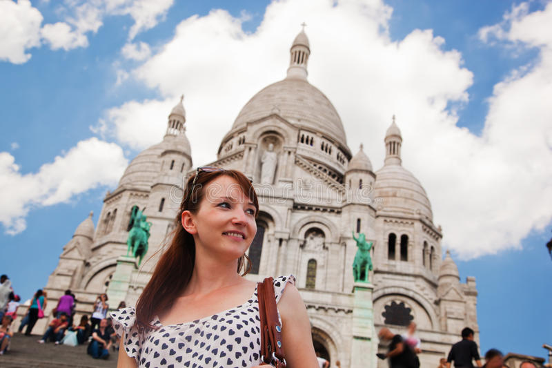 Girl near Sacre-Coeur Basilica. Paris, France. Girl near Sacre-Coeur Basilica on Montmartre, Paris, France royalty free stock image