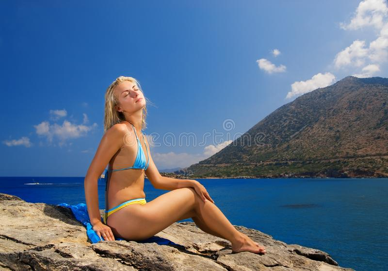 Girl near the sea stock image