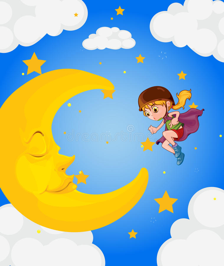 Download A Girl Near The Sleeping Moon Stock Illustration - Image: 33690700