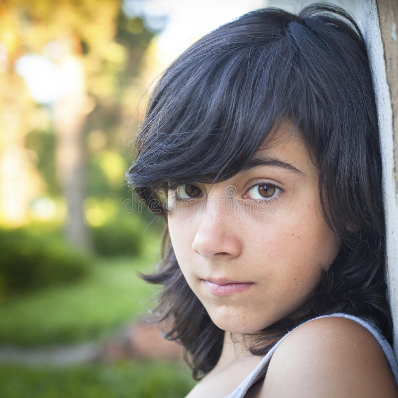 Free Girl Near The Wall Outdoors, Close-up Portrait. Stock Photos - 47078083