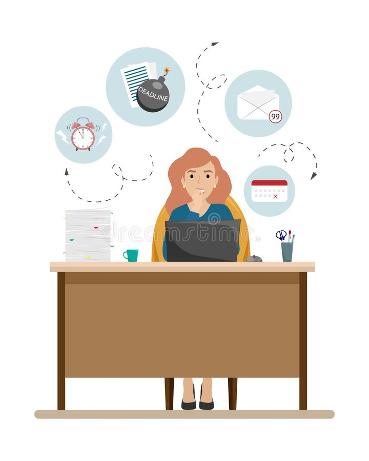 The girl is nervous about the deadline. A lot of cases, deadlines, lack of time stock illustration