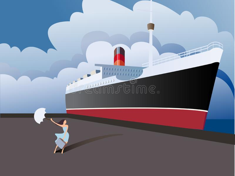 Download The girl next to the ship stock vector. Illustration of season - 19063432