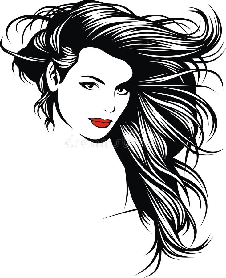 Girl with nice hairs from my fantasy vector illustration