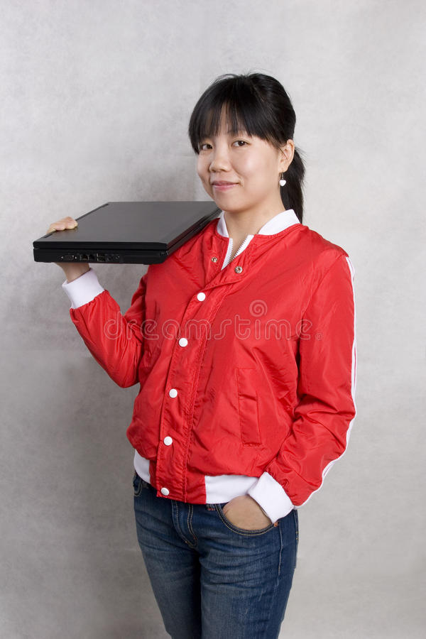Download Girl and notebook compute stock photo. Image of internet - 12021886