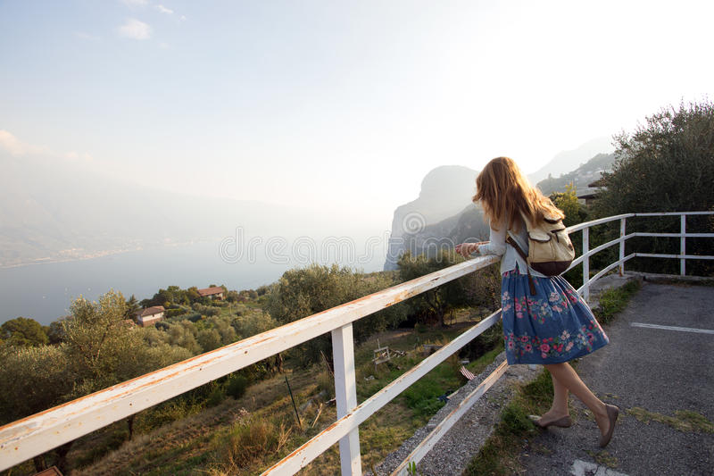 Girl on the observation deck stock photography