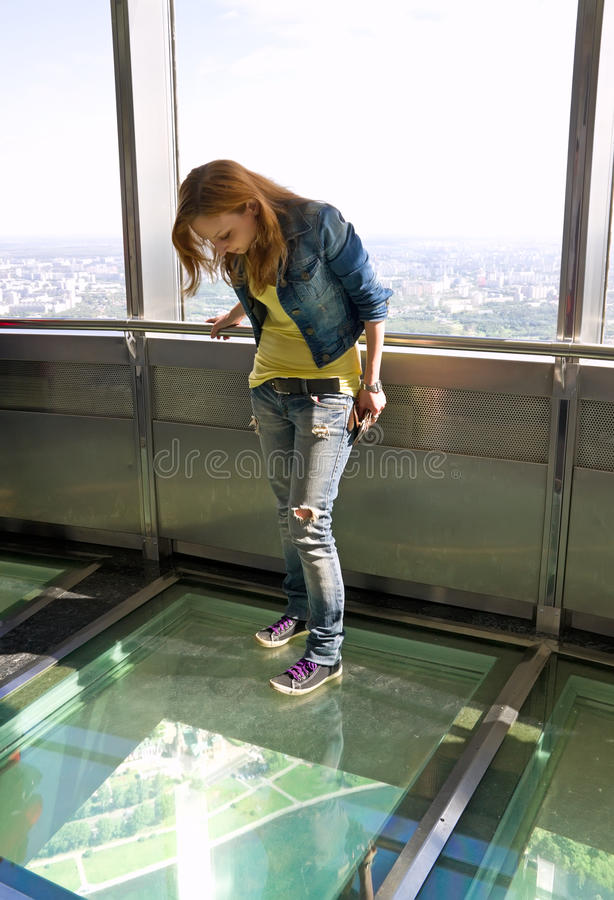 Girl In Observatory Of Tele Tower Stock Photography