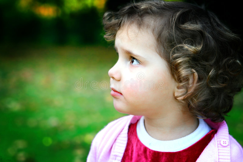 Girl observing outdoor's nature stock photos