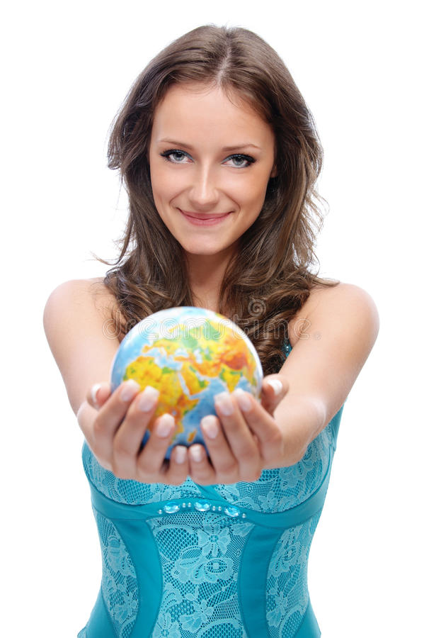Girl offer globe. Beautiful smiling girl offer globe, on white background royalty free stock photography