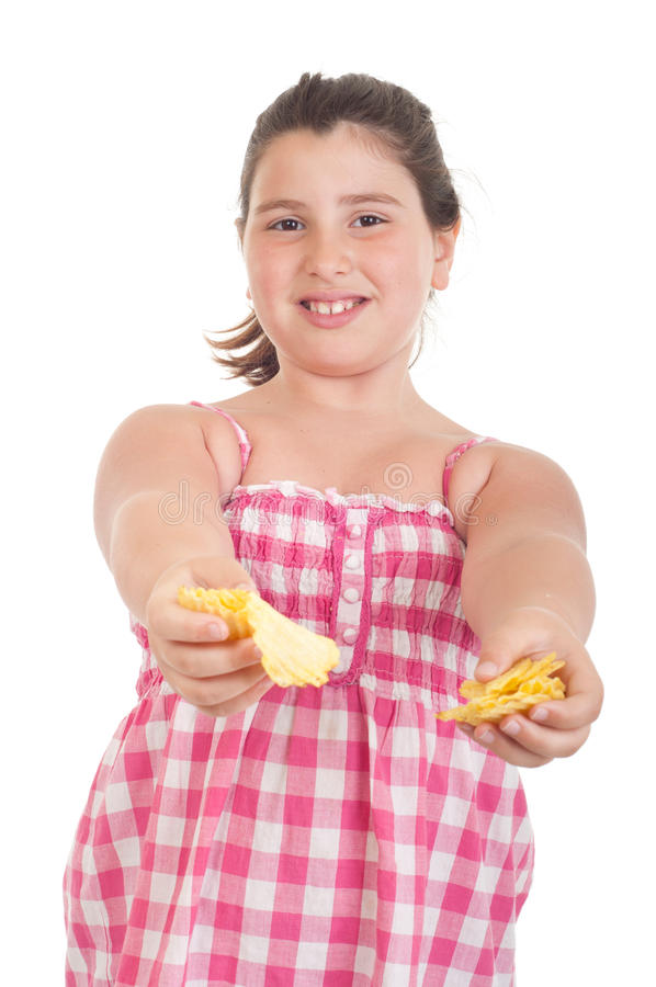 Download Girl offering chips stock photo. Image of child, happy - 19628264