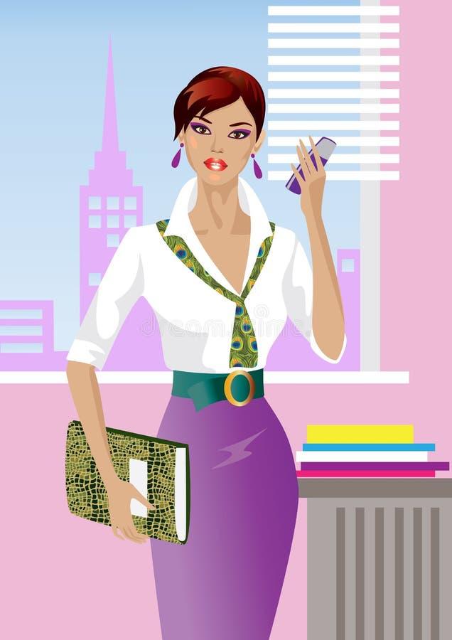 Download Girl in office stock illustration. Illustration of work - 22519418