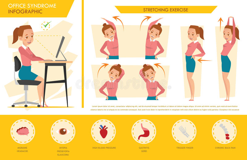 girl office syndrome info graphic and stretching exercise vector illustration