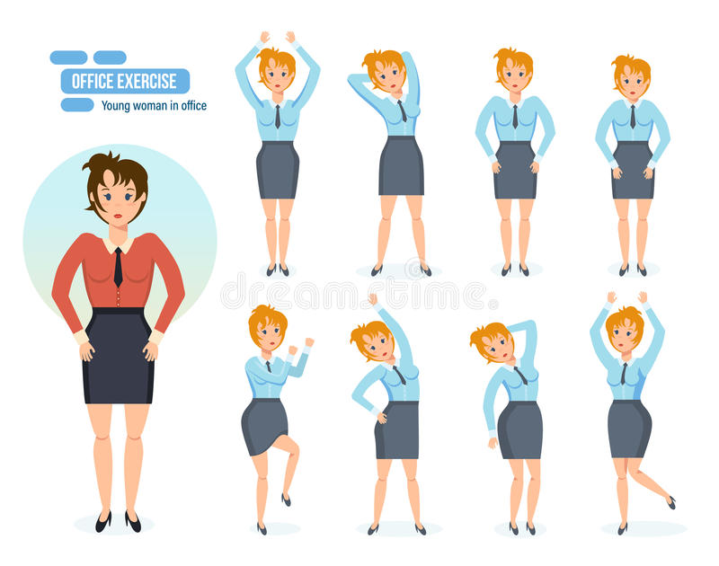 Girl in office, in various poses and situations. vector illustration