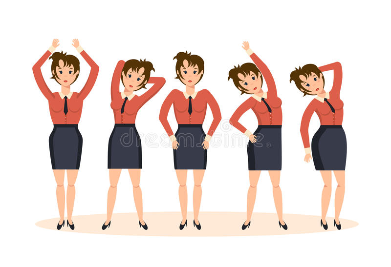 Girl in office, in various poses and situations, doing exercises. vector illustration