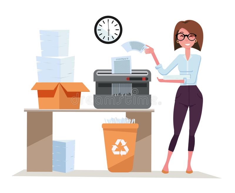 Girl office worker works with Shredder, terminates a pack of documents. Compact shredder stands on the table with a box of stacked stock illustration