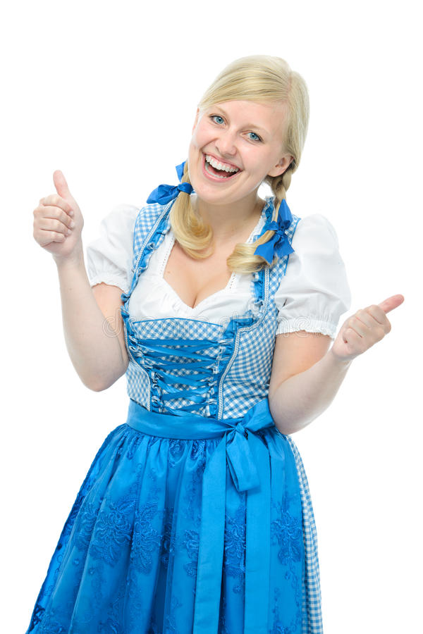 Download Girl In Oktoberfest Dirndl Shows Thumbs Up Royalty Free Stock Image - Image: 32943936