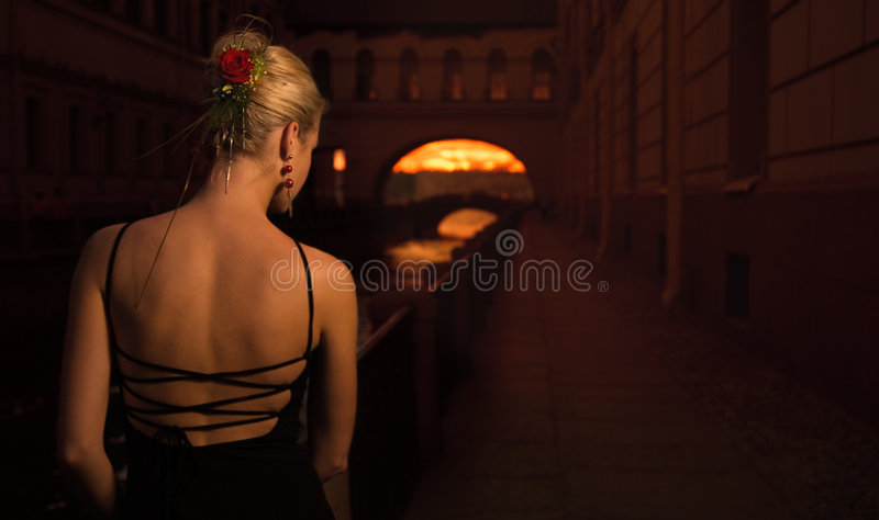 Girl in old city royalty free stock photo
