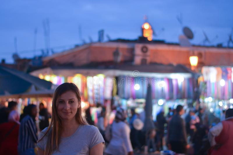 The girl in the old city market, with lights and colors. The bright colors of the Eastern markets stock photos
