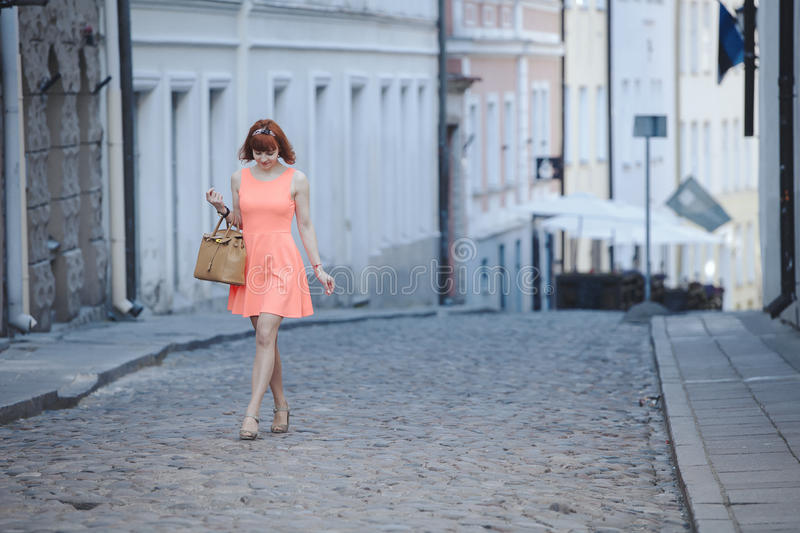 Girl in Old Town royalty free stock photo