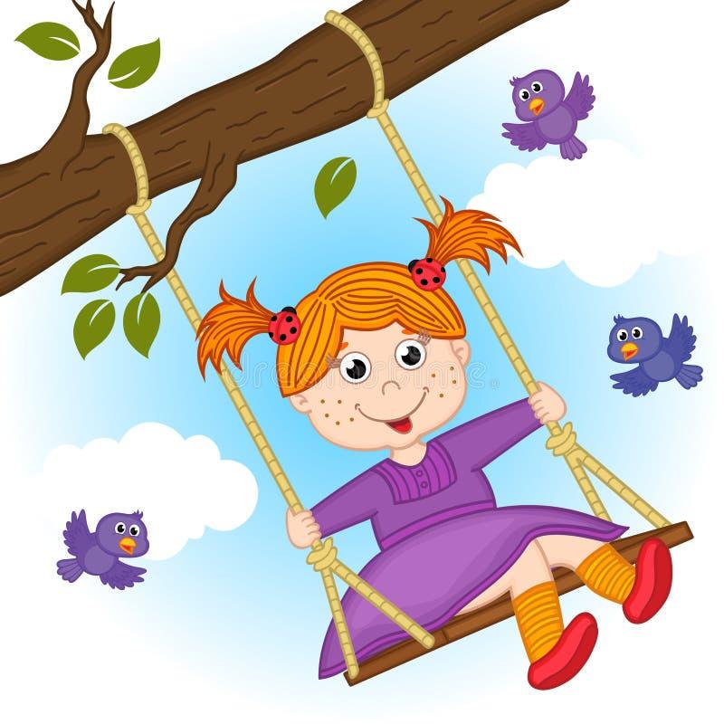 Free Girl On Swing On Tree Branch Stock Image - 77661531
