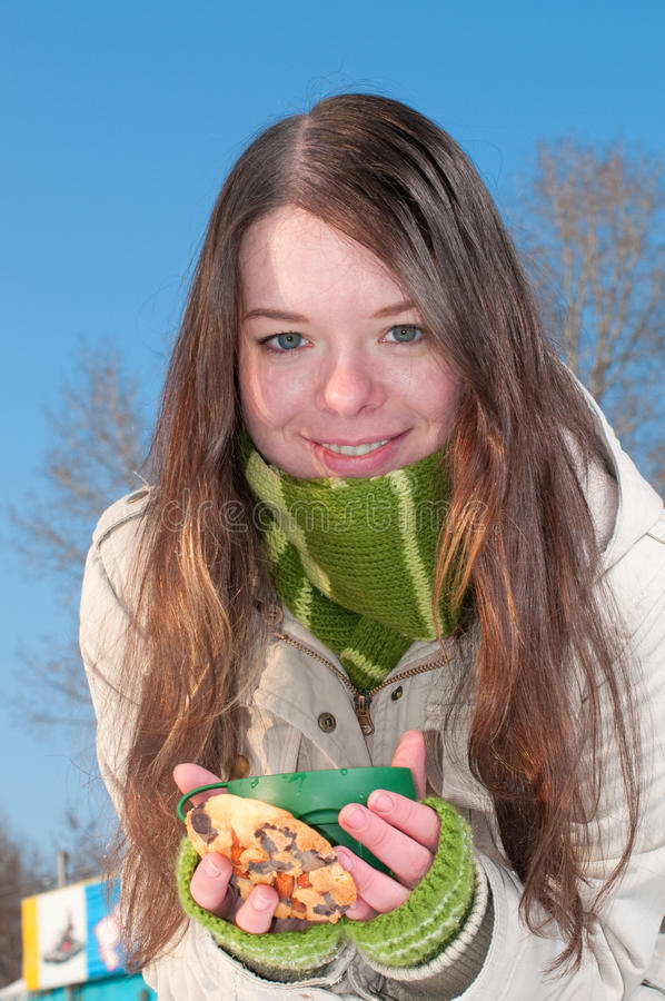 Free Girl On Winter Picnic With Cup Of Tea And Cookies Stock Photo - 16348280