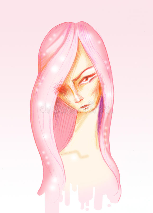 Download Girl With One Eye. Portrait Stock Illustration - Image: 38877305