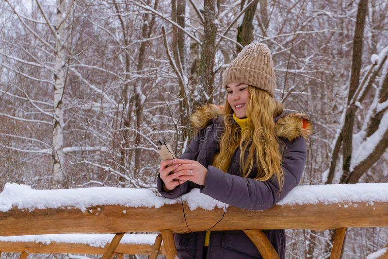 Girl online in winter park royalty free stock images