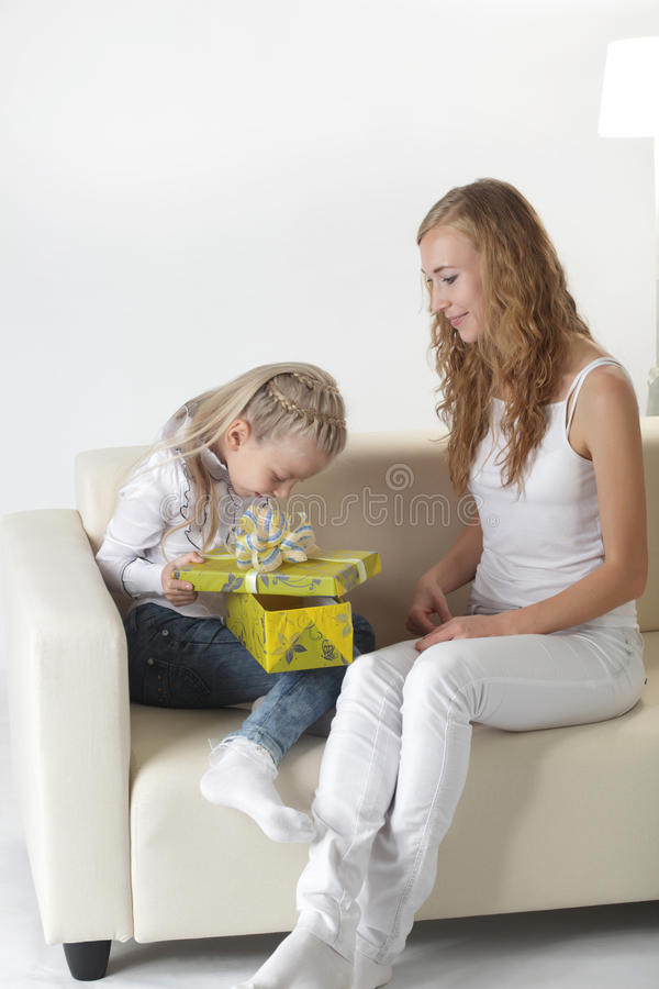 Girl open gift stock images