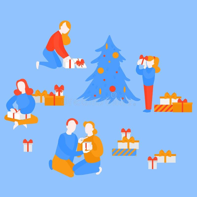 Girl open gift present. Couple celebrate Christmas royalty free illustration