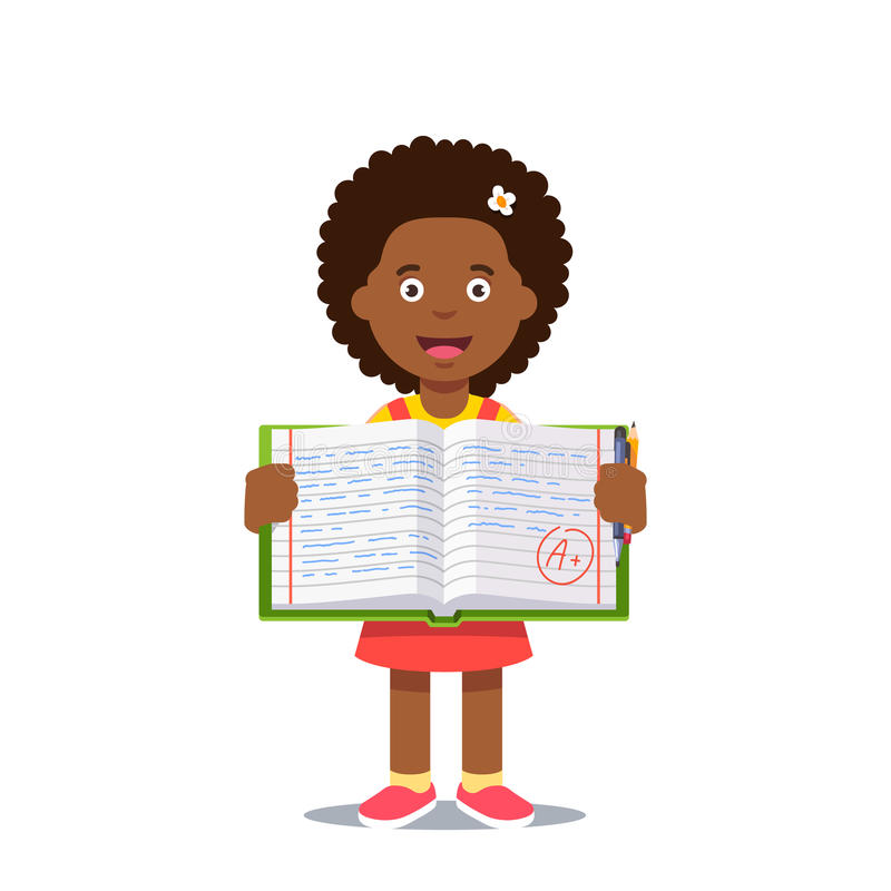 Girl and open work book with A grade. Cute little girl holding an open work book with handwriting and A grade. Flat style color modern vector illustration stock illustration